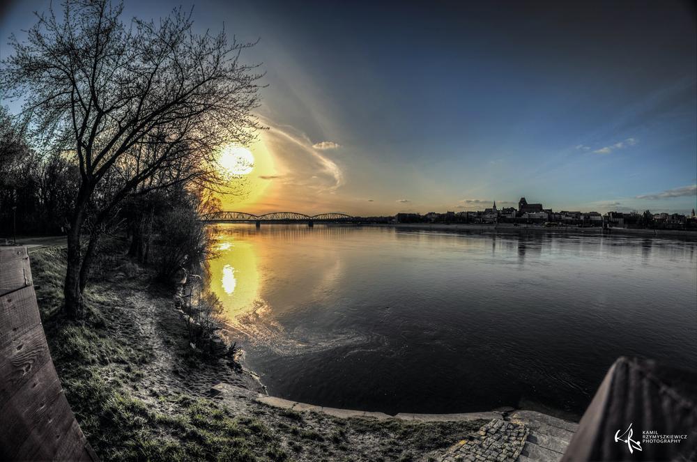Photo in Landscape #sun #monuments #city #bridge #sky #color #torun #poland #hdr