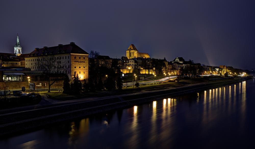 Photo in Landscape #torun #city #night #light #river #bridge #poland