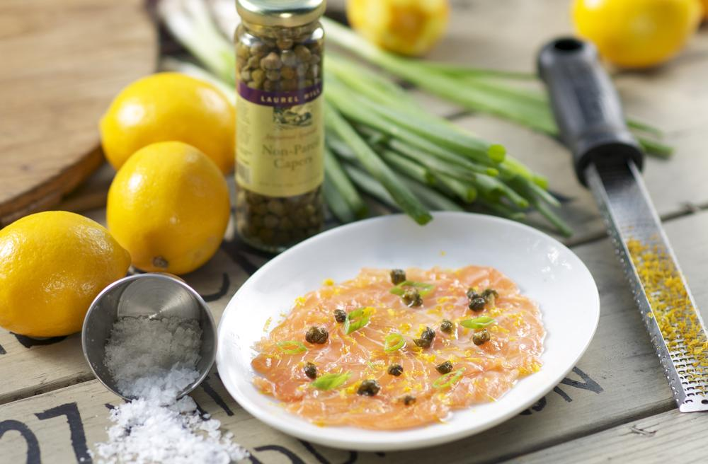 Photo in Food #salmon #capers #lemon #lemon zest #chive #salmon crudo #food #sea salt #salt #zester #greenleaf gourmet chopshop #chopshop #greenleaf #greenleaf chopshop #food photography