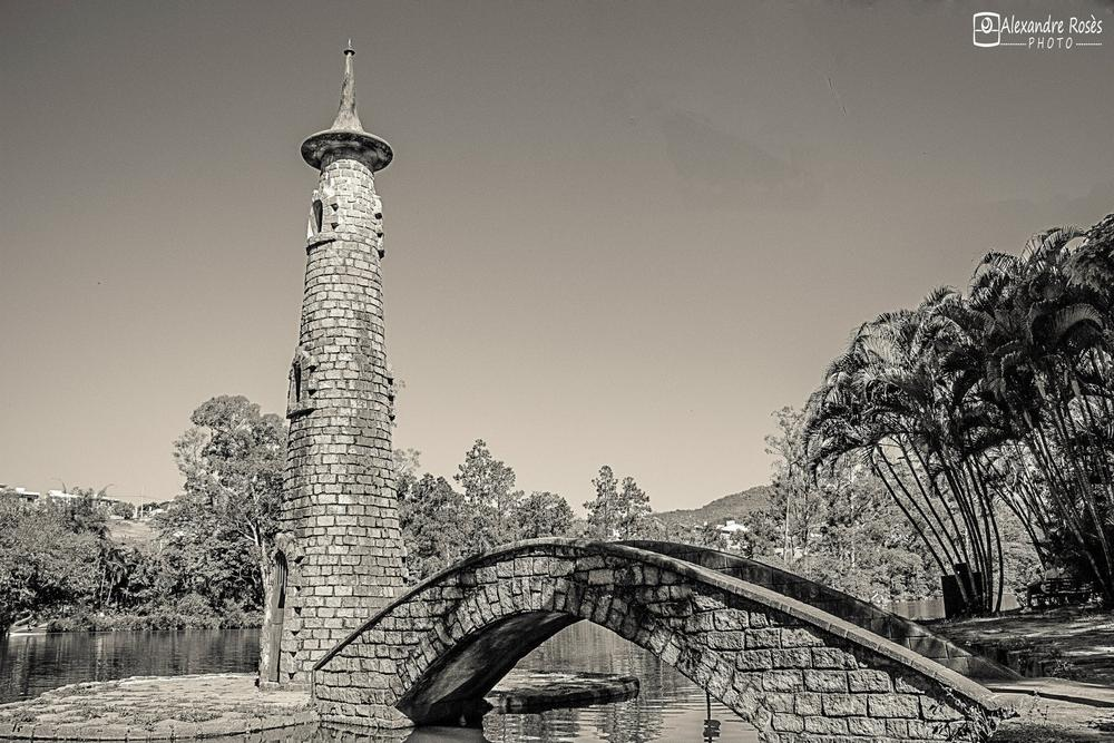 Photo in Black and White #tower #lake #torre #preto e branco #preto #branco #black #white