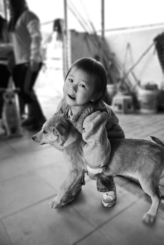 Daughter and dog by leocary