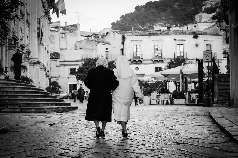 Photo in Random #black and white #friend #nun #scicli #sicily