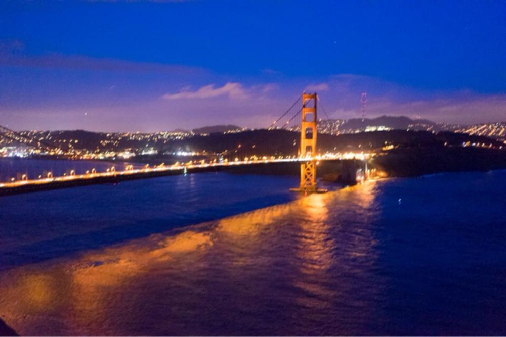Photo in Cityscape #san francisco #bridge #night #water #scenic