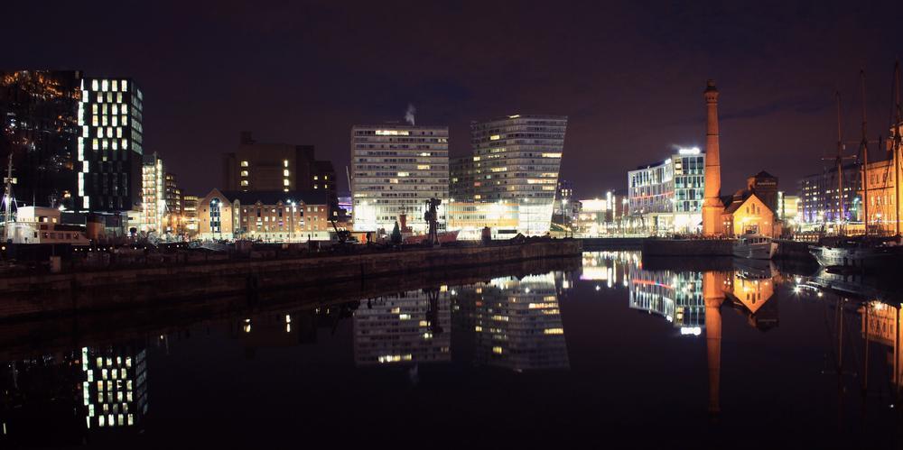 Photo in Landscape #skyline #night #lights #city #liverpool #albert docks #docks