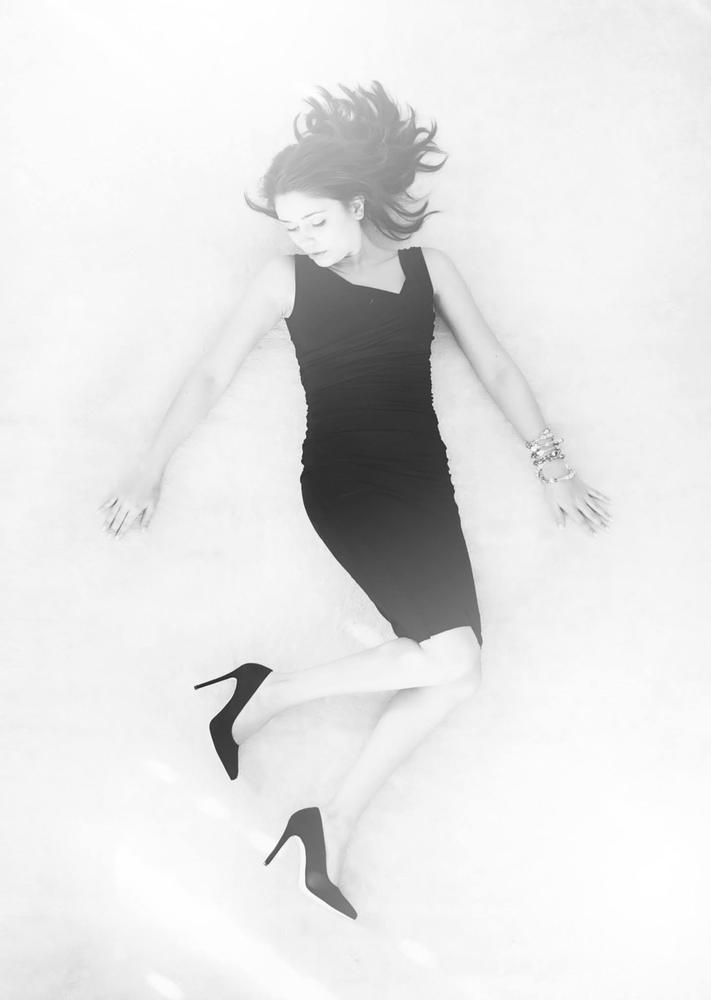 Photo in Black and White #angel #black #white #dress #shoes #woman