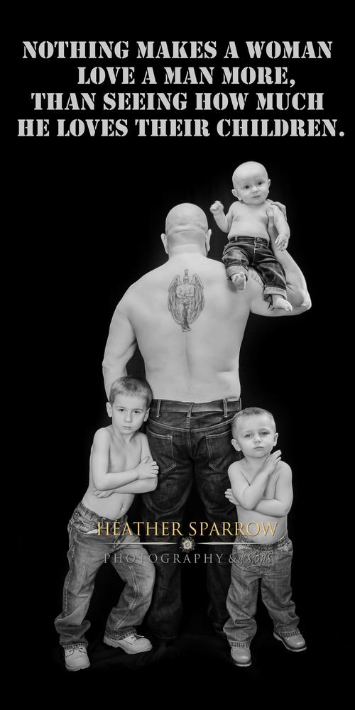 Photo in Random #father #boys #baby #military #tattoo #tough guy #love #family