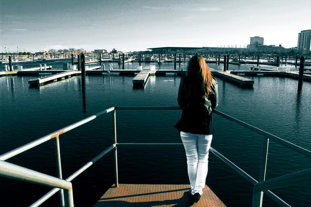 Photo in Random #girl #pier #lonely #lake #water #love #sadness