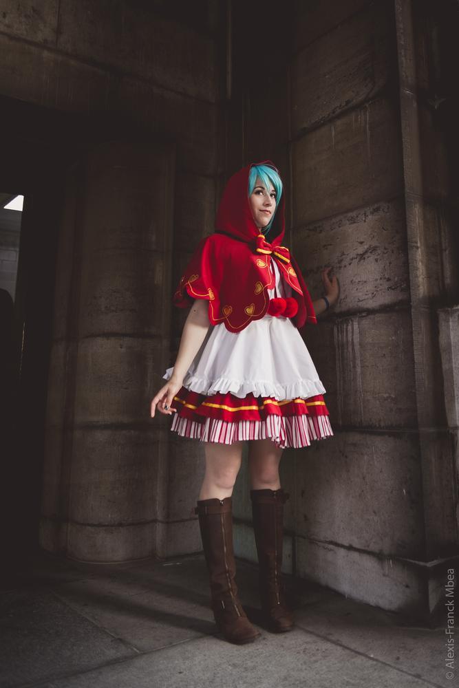 Photo in Random #cosplay #miku #hatsune #red #riding #hood #darkness