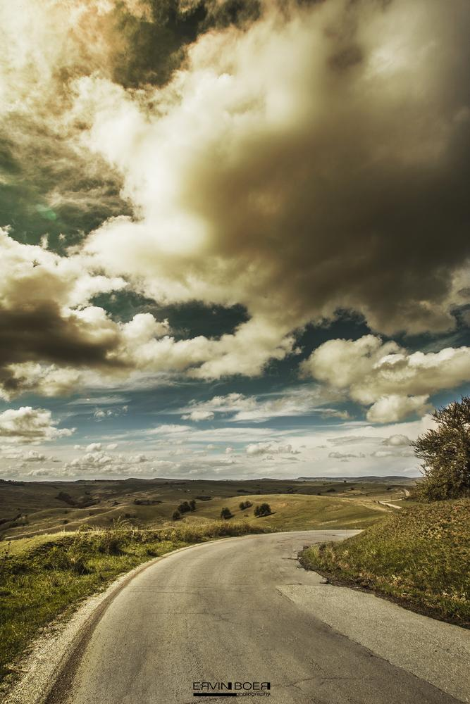Photo in Landscape #road #clouds #sun #summer