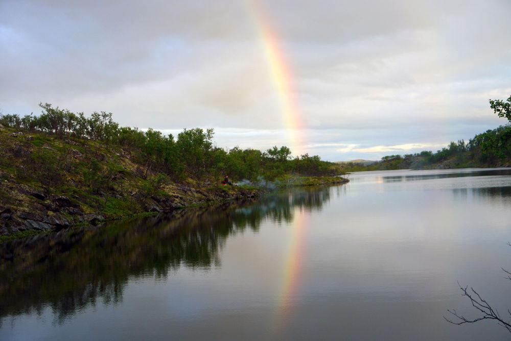 Rainbow at midnight! by E Pedersen