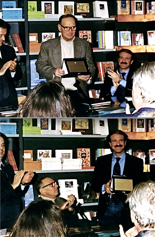 """Augusto De Luca was awarded the """"Città di Roma 1996"""" prize together with Ennio Morricone by FamousPortraits"""