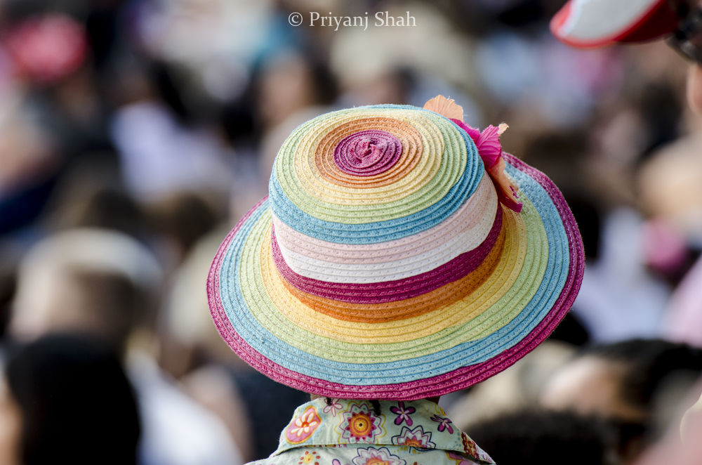 Photo in Random #london #girl #pink #blue #flower #rainbow #colour #festival #yellow #hat #thames #colourful #shirt