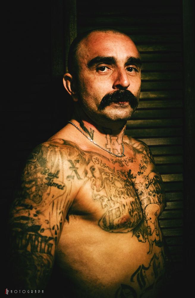 Photo in Portrait #man #face #portrait #tattoo #tattoos #bare chest #ink #portraiture #head shot #nikon d7000
