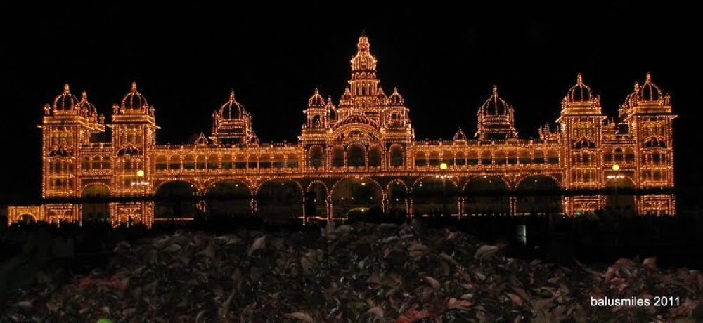 mysore palace palace at night..1 by balasubrahmanaya.k.s