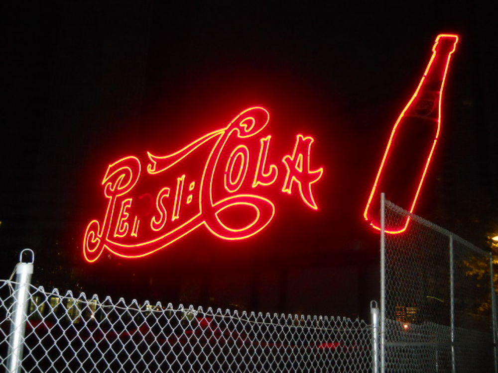 Pepsi Cola sign at night by mark12
