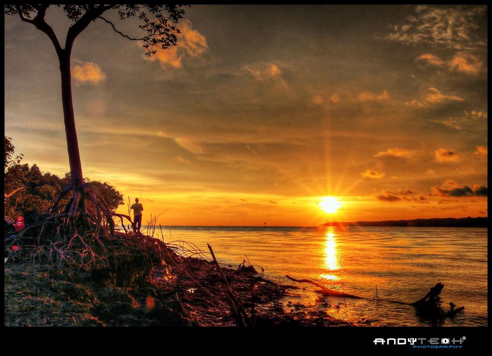 Fishing Under Sunset At Pantai Kelanang by andyteoh73