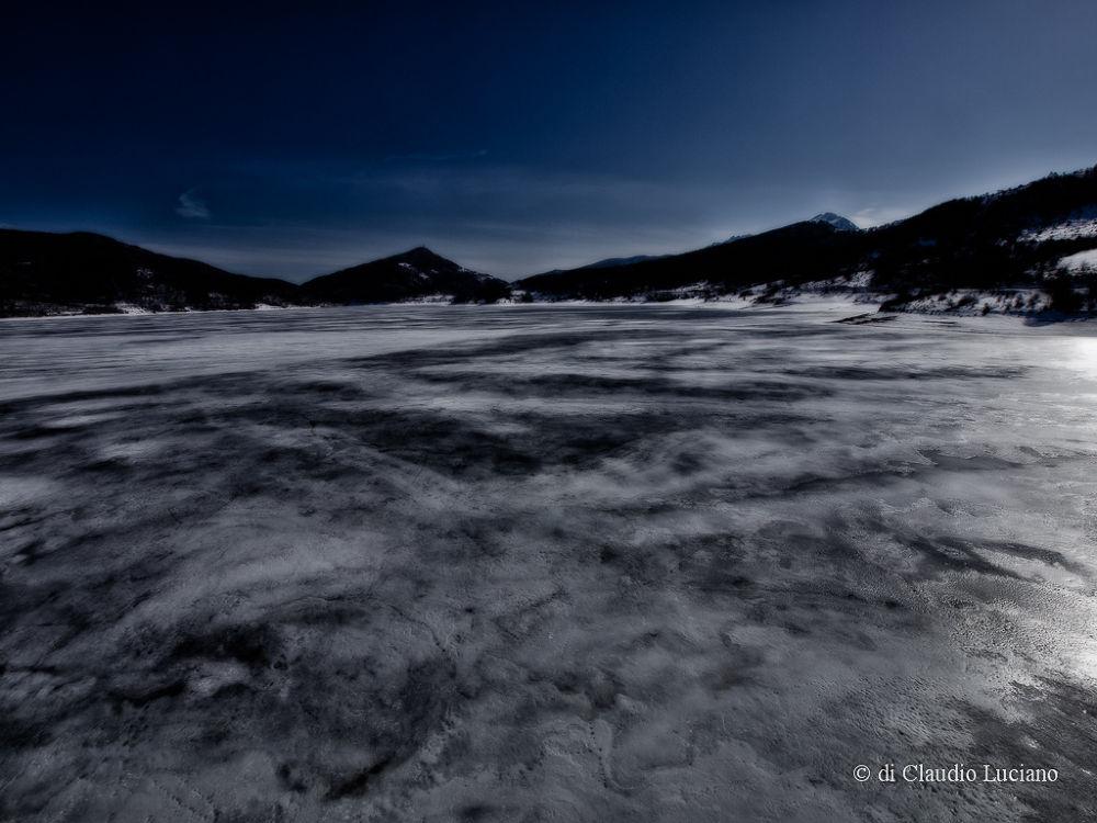 Moonlight on the frozen lake Campotosto (AQ) Abruzzo, ITALY by claudioluciano2