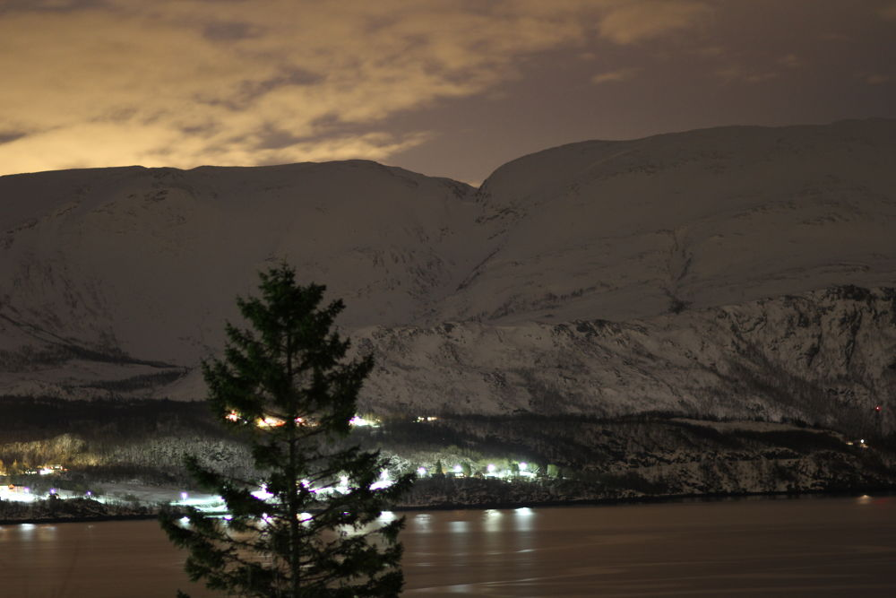 kviting in leifjord at night seen here from tømmervika leirfjord. by vidar mathisen