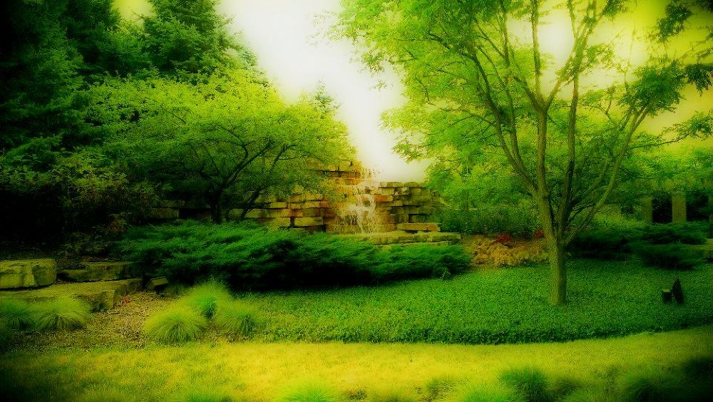 Waterfalls Garden at Willow Creek Community Church at South Barrington, Illinois by virgilbuenaventura